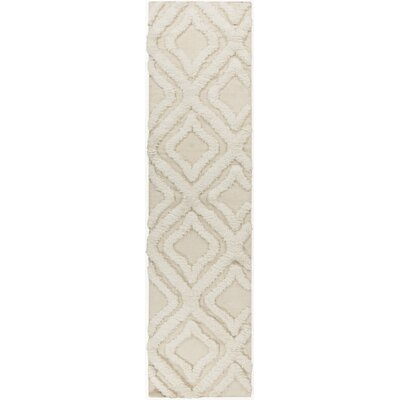 Avian Hand-Woven Ivory Geometric Area Rug Rug Size: Runner 26 x 8