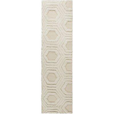 Burchfield Ivory Geometric Hand Woven Rug Rug Size: Runner 26 x 8