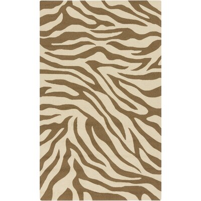 Slivno Hand-Hooked Butter/Taupe Indoor/Outdoor Area Rug Rug Size: Rectangle 9 x 12