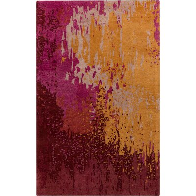 Johnna Hand-Tufted Burgundy/Gold Area Rug Rug Size: 5 x 8