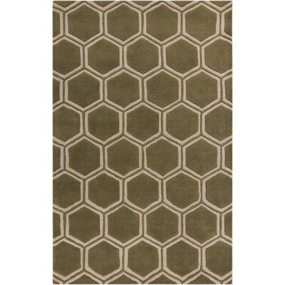 Omar Hand-Tufted Olive/Beige Area Rug Rug Size: Rectangle 5 x 8