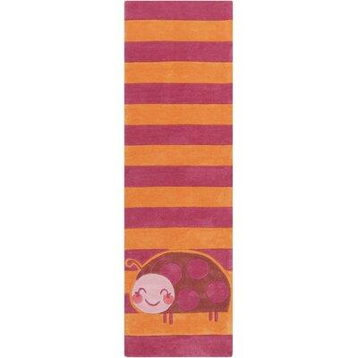 Cherish Hand Tufted Orange/Pink Area Rug Rug size: Runner 26 x 8