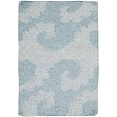 Byington Coastal Hand-Woven Wool Sky Blue Area Rug Rug size: Rectangle 8 x 11