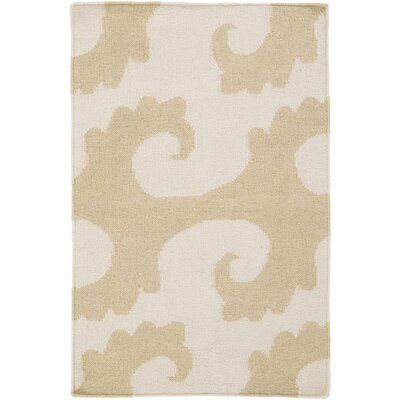 Byington Coastal Hand-Woven Wool Beige Area Rug Rug size: Rectangle 2 x 3