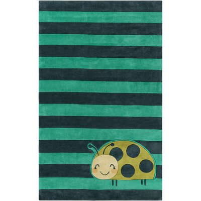 Cherish Teal Area Rug Rug size: Rectangle 36 x 56