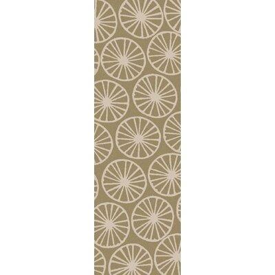 Byington Coastal Hand-Woven Wool Ivory/Olive Area Rug Rug size: Runner 26 x 8