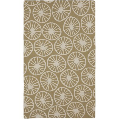 Byington Coastal Hand-Woven Wool Ivory/Olive Area Rug Rug size: Rectangle 2 x 3