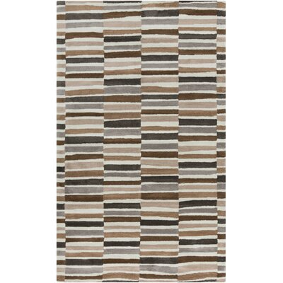Young Life Tan Hand Tufted Gray/Brown Area Rug Rug size: 8 x 11