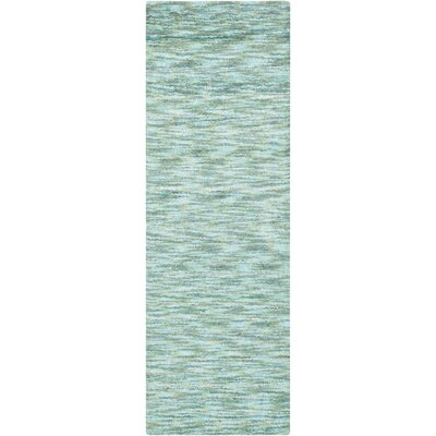 Static Handmade Teal Area Rug Rug Size: Runner 26 x 8