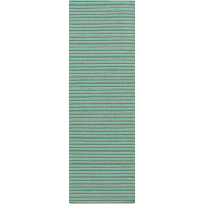 Walton Hand-Woven Aqua Area Rug Rug Size: Runner 26 x 8