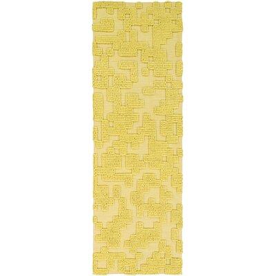 Edmonson Handmade Yellow Area Rug Rug Size: Runner 26 x 8