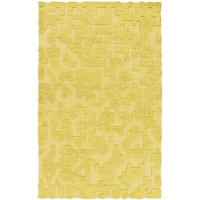 Stencil Handmade Yellow Area Rug Rug Size: 5 x 8