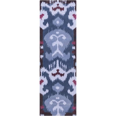 Maura Lavender/Navy Ikat and Suzani Area Rug Rug Size: Runner 26 x 8