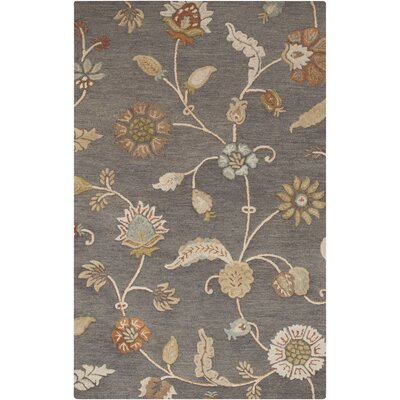 Stowe Slate Floral Rug Rug Size: Rectangle 33 x 53