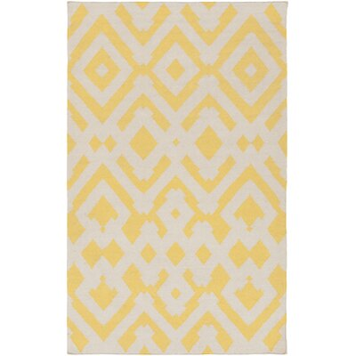 Hemel Beige/Gold Geometric Area Rug Rug Size: Rectangle 5 x 8