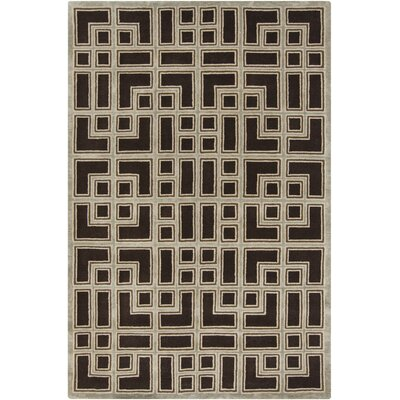 Mayer Black/Light Gray Geometric Rug Rug Size: 56 x 86