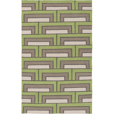 Durgan Green/Charcoal Geometric Area Rug Rug Size: 2 x 3