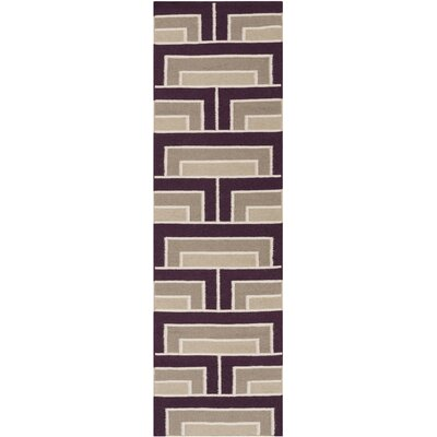 Durgan Eggplant/Taupe Geometric Area Rug Rug Size: Runner 26 x 8