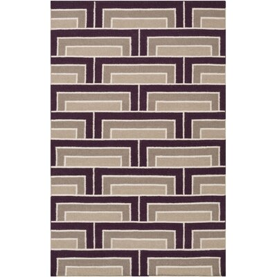 Durgan Eggplant/Taupe Geometric Area Rug Rug Size: Rectangle 2 x 3