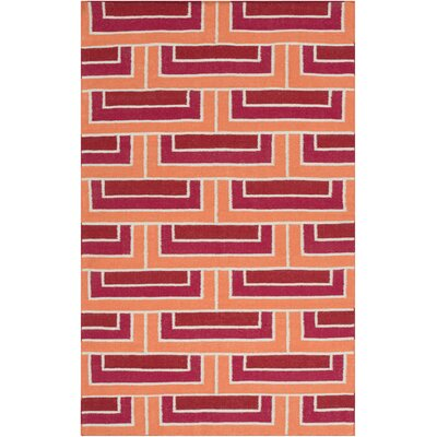 Durgan Hand-Woven Red/Orange Area Rug Rug Size: 33 x 53