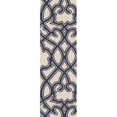 LaGrange Ivory & Navy Area Rug Rug Size: Runner 26 x 8