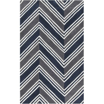 Melodi Hand-Tufted Navy Chevron Area Rug Rug Size: Rectangle 5 x 76