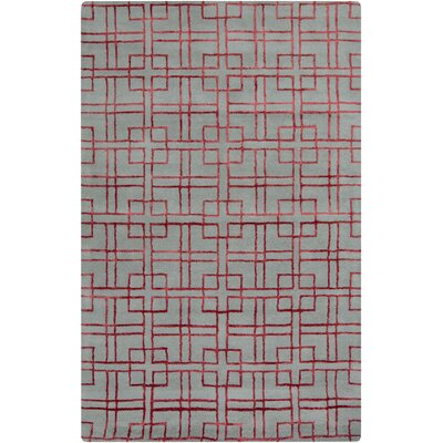 Attalus Geometric Hand-Tufted Dark Red/Sea Foam Area Rug Rug Size: 5 x 8