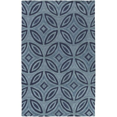Quinn Geometric Hand-Tufted Teal Area Rug Rug Size: Rectangle 5 x 8