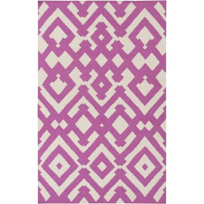 Hemel Magenta/Ivory Geometric Area Rug Rug Size: Rectangle 5 x 8