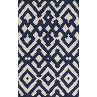 Hemel Hand-Woven Beige/Blue Area Rug Rug Size: Rectangle 5 x 8