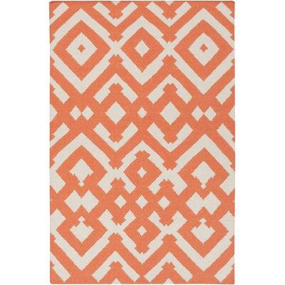 Paddington Ivory/Poppy Geometric Area Rug Rug Size: 5 x 8