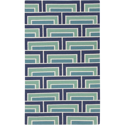 Durgan Geometric Blue/Green Area Rug Rug Size: Rectangle 2 x 3