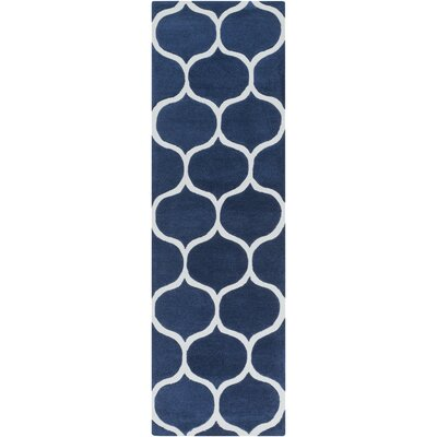 Cortez Navy/Light Gray Geometric Area Rug Rug Size: Runner 26 x 8
