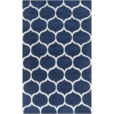 Cortez Navy/Light Gray Geometric Area Rug Rug Size: 36 x 56