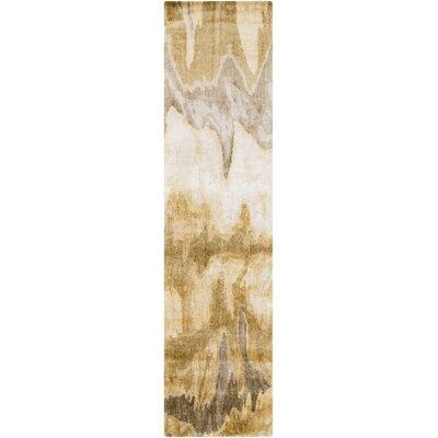 Scylla Ivory/Gold Area Rug Rug Size: Runner 26 x 8