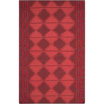 Lewis Hand Woven Wool Burgundy/Red/Black Area Rug Rug Size: Rectangle 36 x 56
