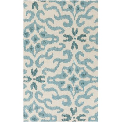 Wentworth Ikat/Suzani Hand Woven Wool Beige/Teal Area Rug Rug Size: Rectangle 5 x 8