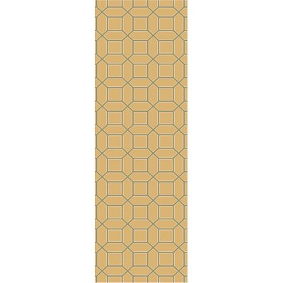 Brock Gold Geometric Area Rug Rug Size: Runner 26 x 8