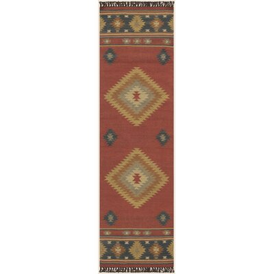 Double Mountain Hand Woven Red Rug Rug Size: Runner 26 x 8