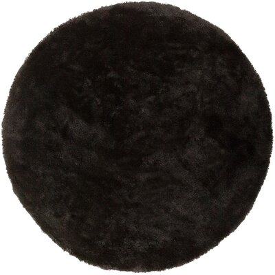 Braun Hand Woven Coal Black Area Rug Rug Size: Round 8