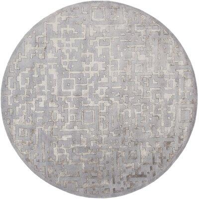 Nicola Light Gray/Mauve Area Rug Rug Size: Round 8