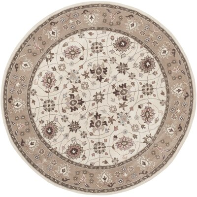 Vickers Ivory/Gray Area Rug Rug Size: Round 8