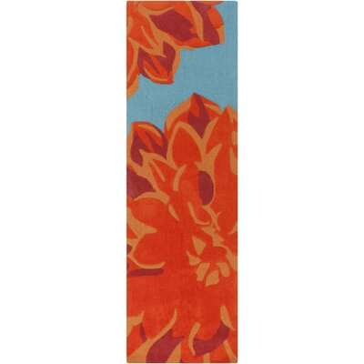 Butner Hand-Tufted Blue/Orange Area Rug Rug Size: Runner 26 x 8