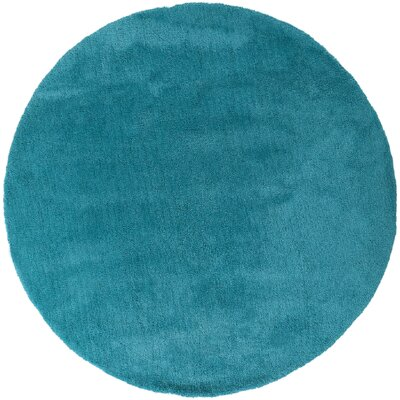 Braun Deep Sky Blue Area Rug Rug Size: Round 8