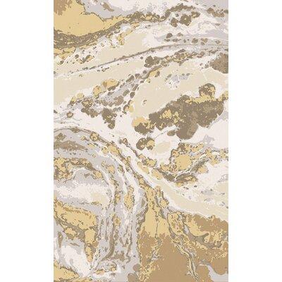 Scylla Ivory/Gold Area Rug Rug Size: 5 x 8