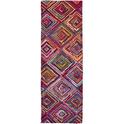 Tousana Handmade Magenta Area Rug Rug Size: Runner 26 x 8