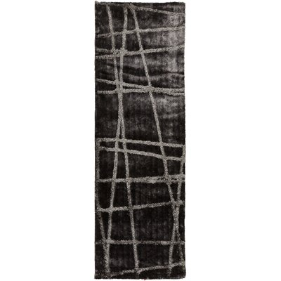 Halterman Pewter/Gray Geometric Area Rug Rug Size: Runner 26 x 8