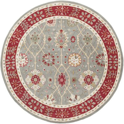 Clifton Hand-Tufted Sage/Burgundy Area Rug Rug Size: Round 8