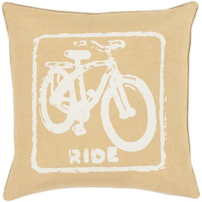 Andrea Bike Ride Cotton Throw Pillow Size: 22 H x 22 W x 4 D, Color: Ivory / Gold, Filler: Down