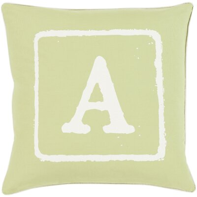 Isabelle Cotton Throw Pillow Size: 22 H x 22 W x 4 D, Color: Ivory/Lime, Letter: A